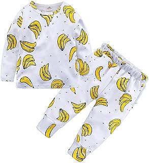 2PCs Toddler Baby Boys Girls Pajama Set Kids Banana Print Pullover T-Shirt Pants Sleepwears