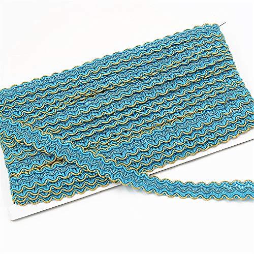 Jilibaba Cortina de tela trenzada trenzada con borde de costura en forma de S, cinta decorativa para disfraz de baile, 12 m