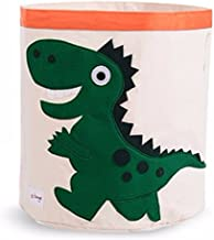 (Green Dinosaur) - Collapsible Canvas Storage Basket or Bin Toy Organiser for Kids Playroom, Clothes, Children Books, Stuffed Animal (Green Dinosaur)