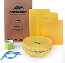 Greenouf Organic Reusable Beeswax Food Wraps Set, 3 Pack L, XL, and XXL, with 2 Food Grade Bands, and Stickers, Sustainable Plastic Free Food Storage, Perfect for storing food leftovers.