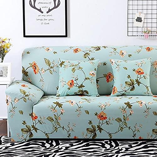 Funda De Sofá 3 Plazas Azul Fundas Sofa Elasticas Cubre Sofa Antideslizante Protector Funda para Sofá con Diseño Moderno Flor Naranja Universal Funda Cubre Sofas