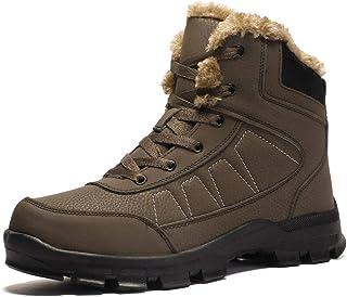 2019 New Men's Shoes Autumn and Winter Plus Velvet Cotton Shoes Wearable Men's Outdoor Hiking Shoes Men (Color : Brown, Size : 45)