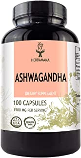 Ashwagandha Capsules 1500 mg | Filled with Organic Ashwagandha Root | Anxiety and Stress Relief | Thyroid Support | Sleep Aid | Non-GMO