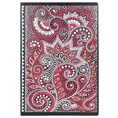 Cuaderno con hojas blancas A5 de punto de cruz 5D con diseño de diamantes, diario secreto notebook diarios para niñas cuaderno de bocetos con pinturas para mandalas para oficina hogar manualidades