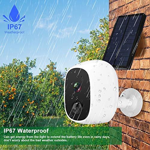 Jiawu Cámara para Exteriores, Sistema de intercomunicación, intercomunicador bidireccional con energía Solar 1080P HD para apartamento en casa