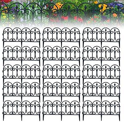 KOXHOX Decorative Garden Fence, Garden Border Edging, White Black Landscape Folding Fencing Patio Wire Border for Flower Bed Dog Barrier Tall Garden Edge (Black,15PCS)