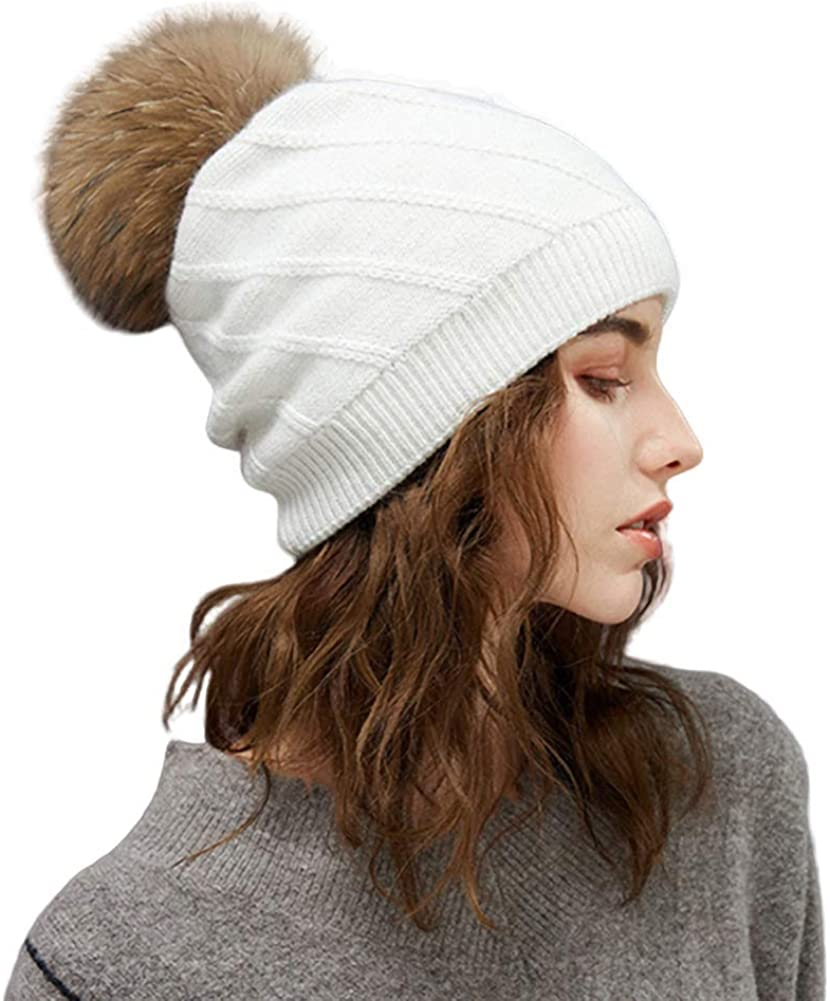 Lawevan Twill Knitting Wool Beanies Double-Layered Thick Beanies with Detachable Fur Ball Beanies
