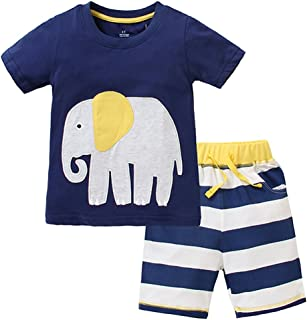 Urtrend Little Boys' Baby Toddler Kids Cotton Summer Elephant T-Shirt Shorts Set Outfit