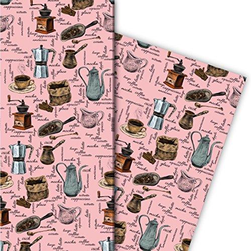 Kartenkaufrausch Gezeichnetes Kaffeehaus Geschenkpapier Set 4 Bogen, Dekorpapier mit Kaffeemühlen und Kaffee Varianten, rosa, für tolle Geschenkverpackung, Musterpapier zum basteln 32 x 48cm