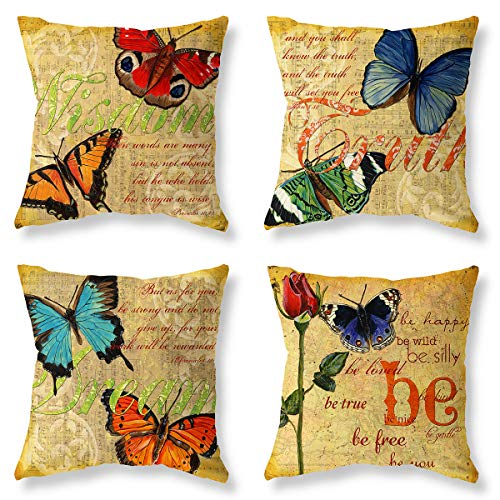 Throw Pillow Covers Farmhouse Countryside Spring Retro Butterfly Decorative Pillowcases 4 Pack-Soft Linen Cotton Design Cushion Cover for Sofa, Bedroom, Chair,Bed, Car Seat 18 x 18