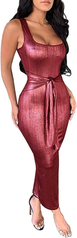 Max 48% OFF Women Sexy Solid Sleeveless Arlington Mall Bodycon Dre Waist Casual Dress Tight