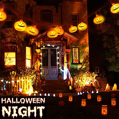 Greenke Halloween Decorations String Lights, 9.8ft 20 LEDs Pumpkin String Light Battery Operated Decorative Lamp for Halloween Indoor Outdoor Party Decor (2 Modes Steady & Flickering Lights)