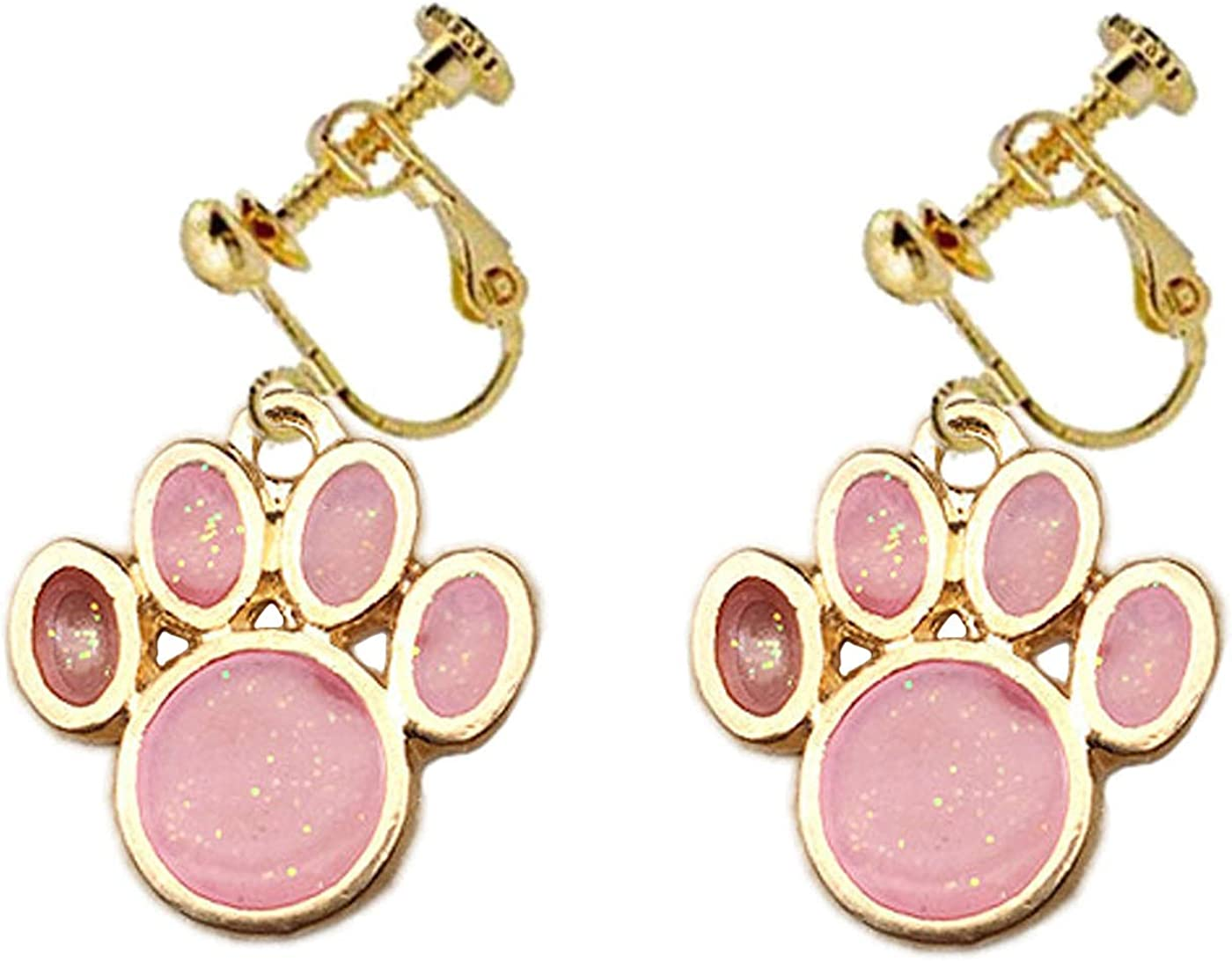 Kids Enamel Dog Paw Earrings Cat Paw Clip on Earrings for Girls Women Bear PinkCute Paw Dangle Drop Non Pierced