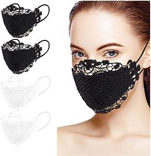 Eaylis 4 Stück Spitze Waschbar Face Mask Lustiger Atmungsaktiver Wiederverwendbarer Multifunktionstuch Motorrad Winddicht Reusable Face Cover Sommerschal