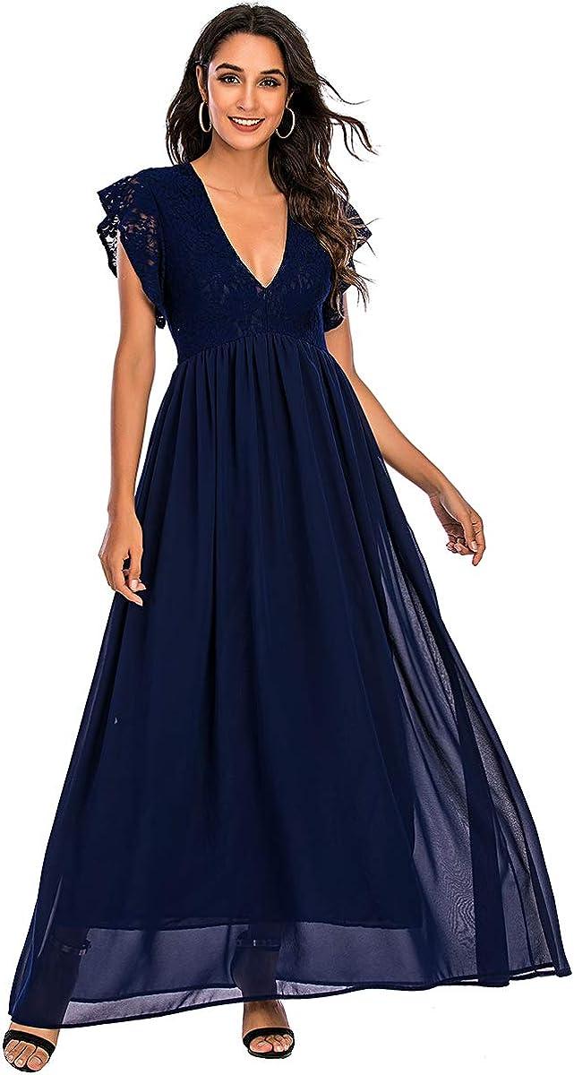ENKA Women's Lace Chiffon Long Dress Short Sleeve V Neck Vintage for Evening Party Beach Cocktail