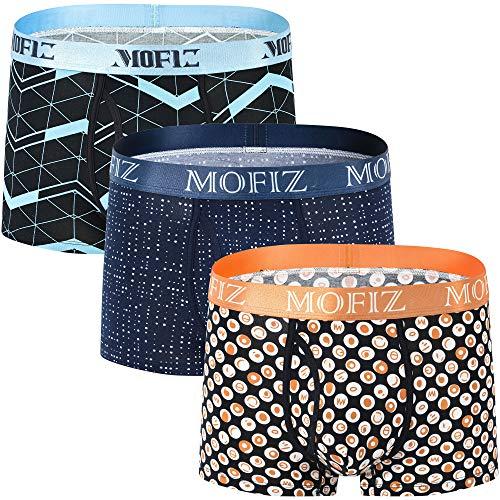 JINSHI Boxershorts Herren Unterwäsche mit Gummiband Komfortable Elegante Unterhosen 3er Pack M