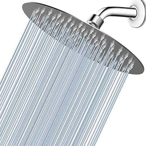 """Voolan High Pressure Shower Head - 8"""" Rain Shower head Made of 304 Stainless Steel - Comfortable Shower Experience Even at Low Water Flow (Brushed Nickel)"""