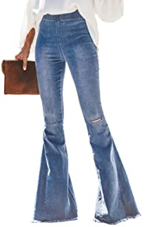 Sponsored Ad - FANCYNA Women's Ripped Flare Jeans Elastic High Waist Raw Hem Bell Bottom Denim Pants for Woman