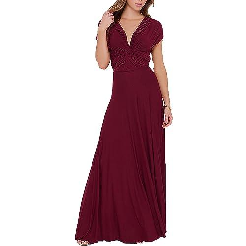 Clothink Women s Convertible Wrap Multi Way Party Long Maxi Dress 7ecd7d5c48e1
