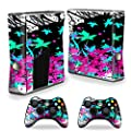MightySkins Skin Compatible with Microsoft Xbox 360 S Slim + 2 Controller Skins wrap Sticker Skins Leaf Splatter from MightySkins