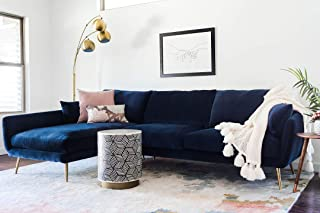 Edloe Finch Modern Sectional Sofa Left Facing Chaise Down Feather Cushions, Blue Velvet