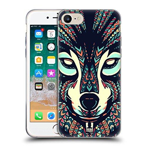 Head Case Designs Lupo Facce di Animali Aztechi 3 Cover in Morbido Gel e Sfondo di Design Abbinato Compatibile con Apple iPhone 7 / iPhone 8 / iPhone SE 2020