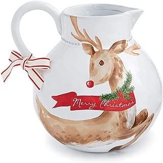 Mud Pie Watercolor Christmas Reindeer Tartan Drink Pitcher