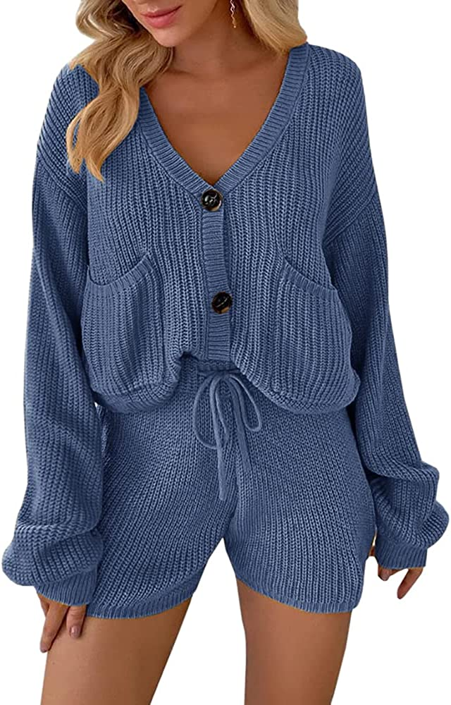 Womens 2 Piece Sweater Outfits Long Sleeve Button Down Pockets Loose Cardigans Drawstring Shorts Ribbed Knit Sets