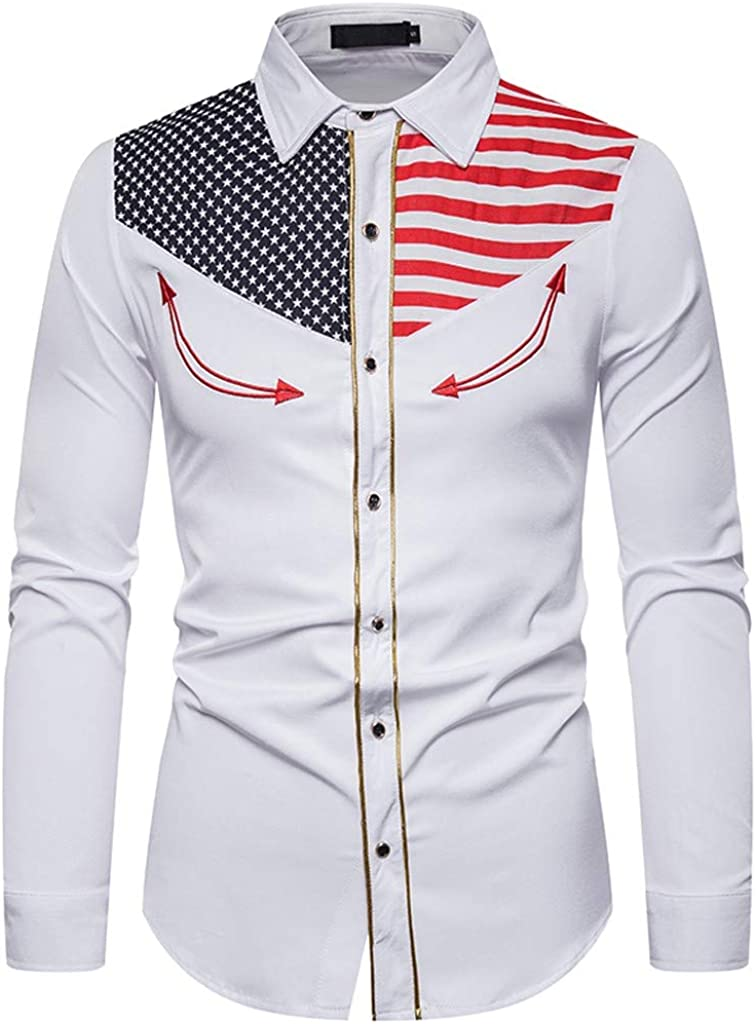 MODOQO Men's Shirts Long Sleeve Casual Embroidered Printed Lapel Collar Button Down Shirt Tops