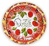 Lashuma Handgemachter Pizzateller Tomate aus Italienischer Keramik, Großer Teller Rund 33 cm