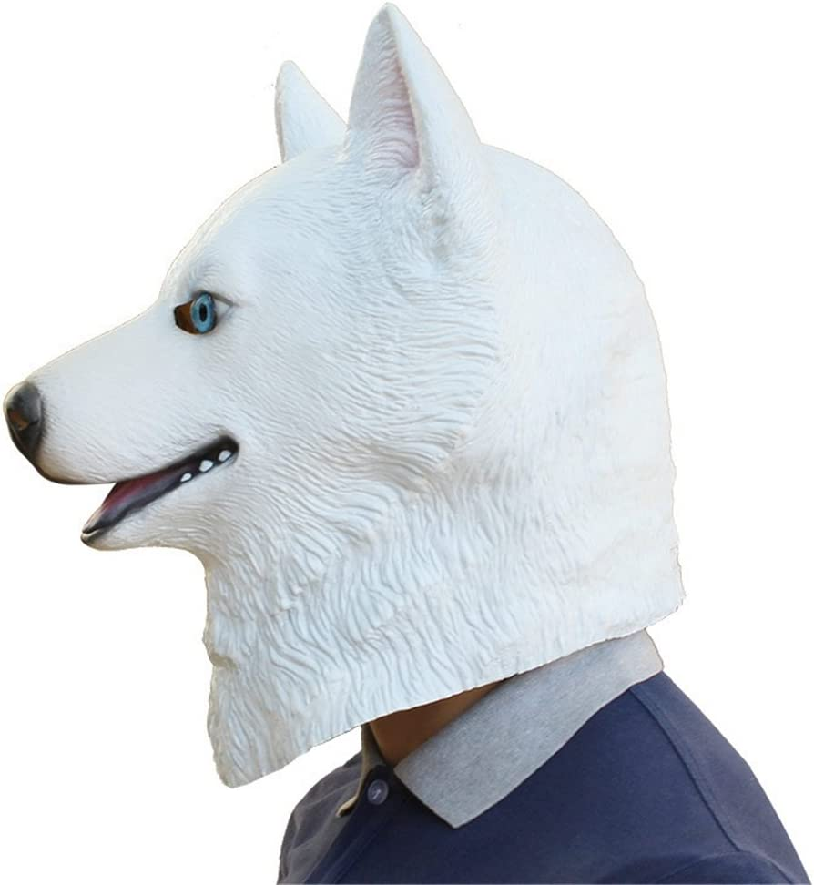 Halloween Masker Party Halloween Party Tidy Masker Sneeuw Leopard Dog Dog Style Latex Masker Role-playing Mask (Color : Black) White