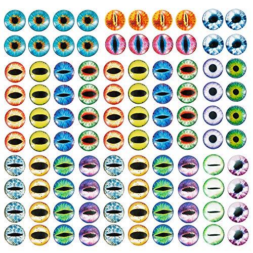 100 ojos redondos de cristal de 25 mm, cabujón de cristal, ojo de dragón, gato, simulación de animales para manualidades, joyas, camafeo, accesorios para hacer muñecas