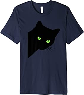 Black Cat peeking funny peaking black cat  Premium T-Shirt
