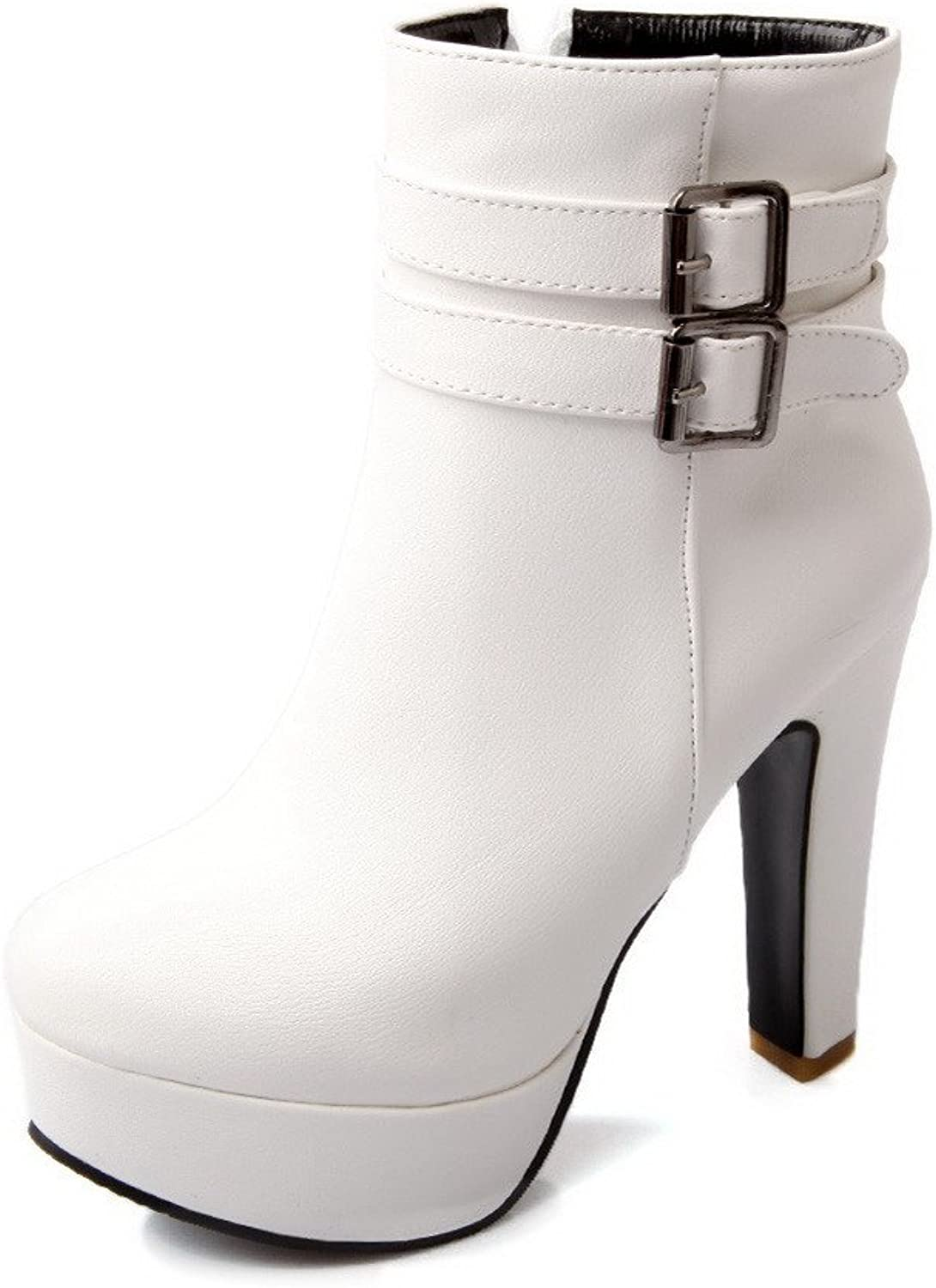 AmoonyFashion Womens High Heels PU Soft Material PU Solid Boots with Chunky Heels and Platform, White, 6.5 B(M) US