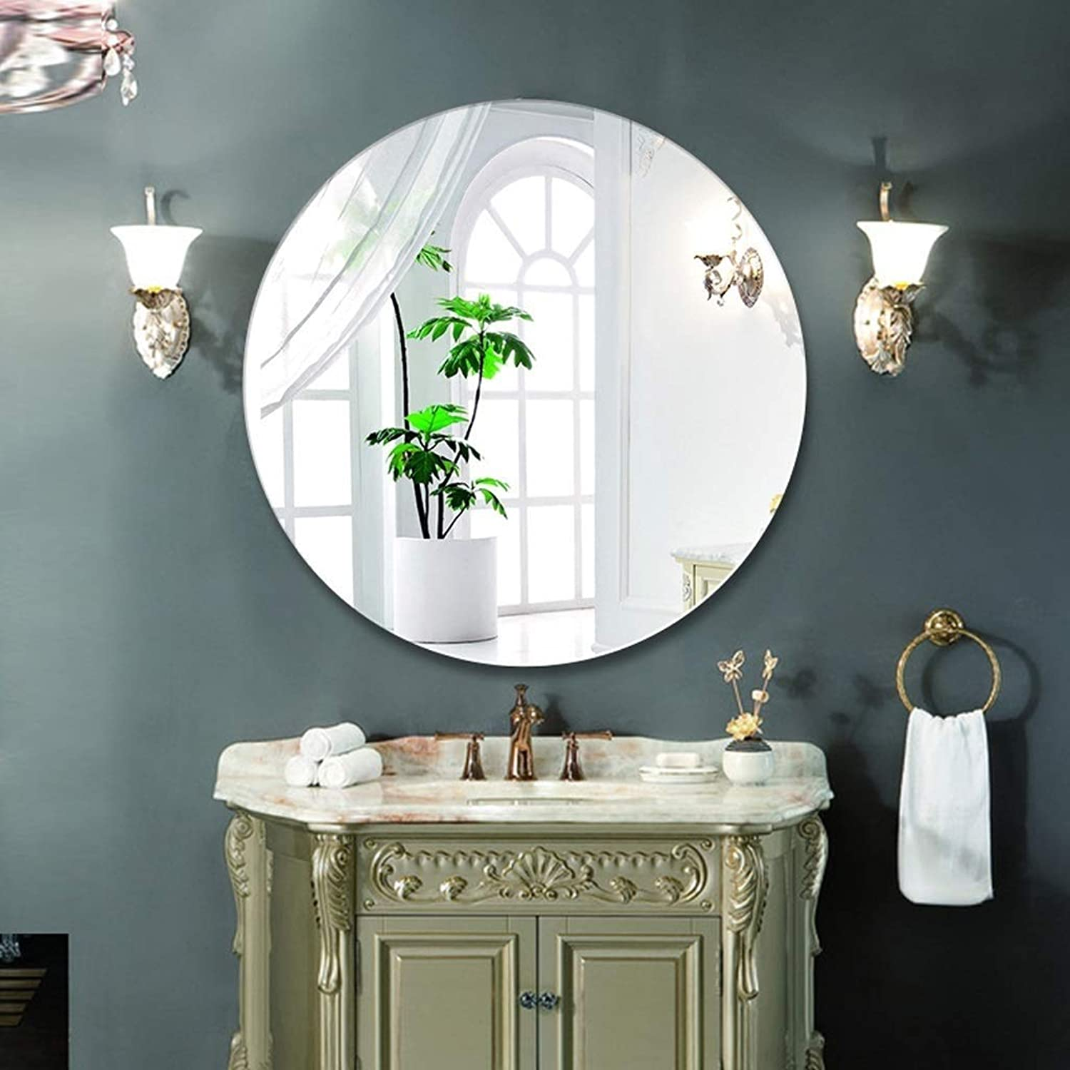 XIUXIU Mirror Simple Round Punch-Free Frameless Vanity Mirror Bedroom Wall Hanging Decorative Mirror (Size   40  40 cm)