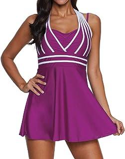 Women Retro one-Piece Swimsuit Swimming Dress Elegant Bathing Dress Ruched Belly Swim Skirt Adjustable Large Size Beachwea...