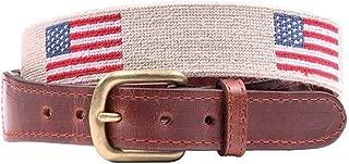 American Flag Needlepoint Belt in Light Khaki by Smathers & Branson