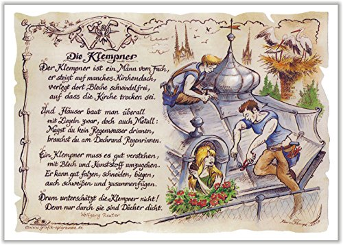 Geschenk Klempner Sprengler Zeichnung Color 30 x 21 cm