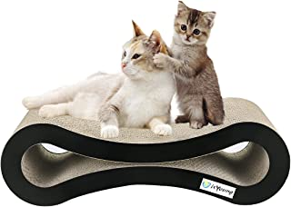 isYoung Cat Scratcher Lounge Corrugated Cat Scratcher Cardboard Protector for Furniture Couch Floor Eco-Friendly Toy - Keep Cats Fun Healthy Come with Catnip