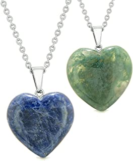 Amulets Lucky Puffy Hearts Love Couples or Best Friends Set Sodalite Green Moss Agate Pendant Necklaces
