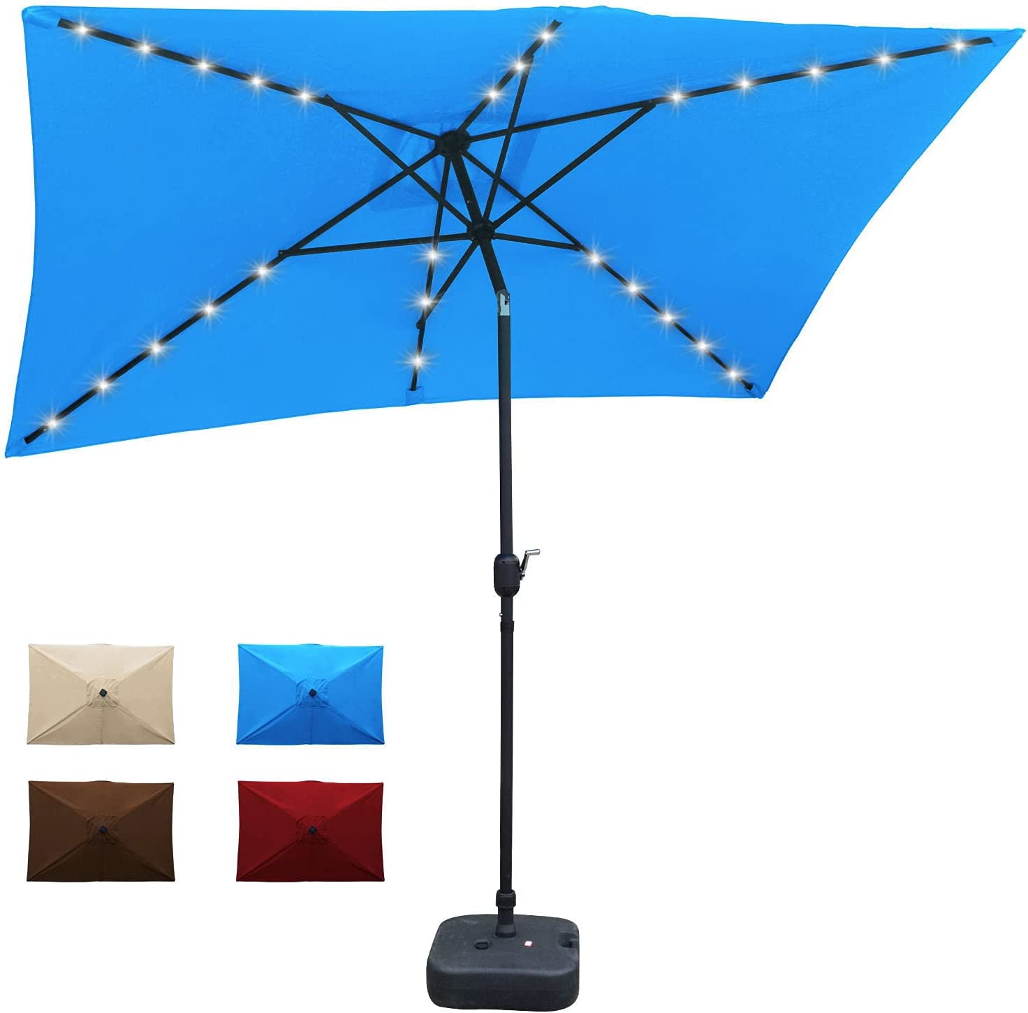 LOVE STORY Max 48% OFF Solar Powered LED Patio Rectang by 35% OFF 6.5 10 ft Umbrella