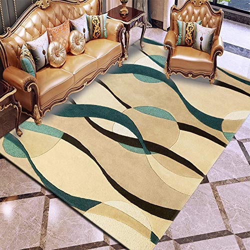 Carpet Rug,3D Digital Print,Simple Blue Brown Lines,Graphic Carpet For Living Room Bedroom Sofa Mat Door Mat Kitchen Bathroom Mat Carpet Bath Mats For Home Decoration,91×152Cm 2.98×4.98Ft