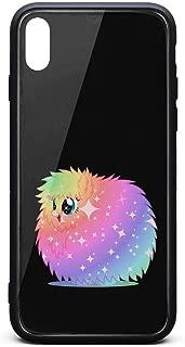 Tempered Glass Phone Case for iPhone Xs Cutest Fluffle Puff Tales Glitter Unicorns Popular Anti-Scratch Phone Case