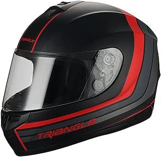 Triangle Full Face Matte Street Bike Motorcycle Helmet [DOT] (Medium,Matte Black/Red)