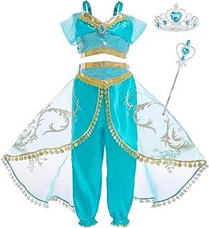 AmzBarley Niña Aladdin Princesa Jasmine Disfraz jazmín Tops Pantalones Manga Corta Traje Cosplay Actuación Carnaval Navidad Regalo Cumpleaños Danza Vientre Vestido de Princesa