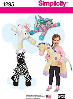 SIMPLICITY US1295OS Stuffed Zebra, Unicorn, Pegasus and Giraffe Sewing Template