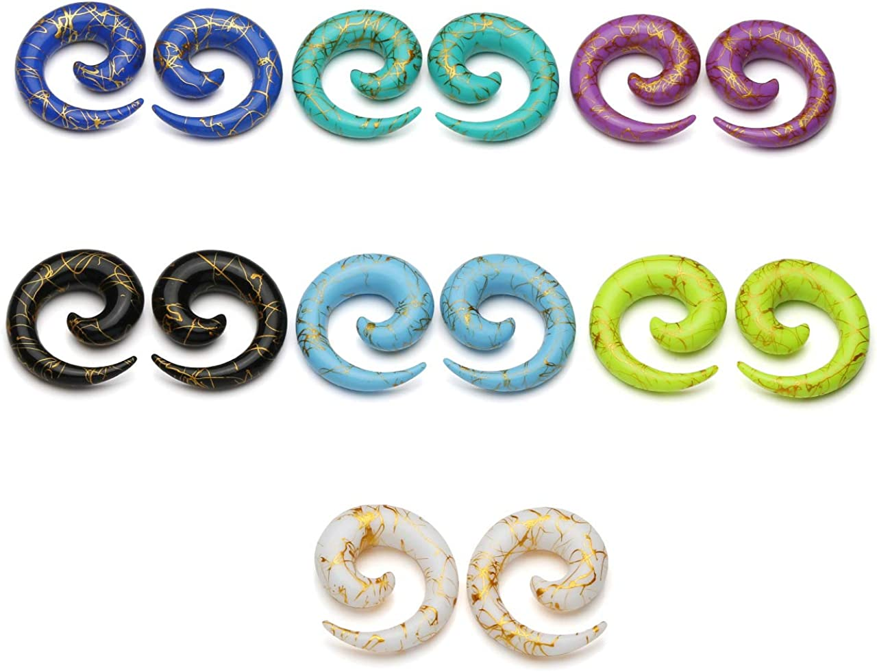 New Spiral Multi Rainbow Colour Paint Splatter Ear Taper Stretcher Various sizes