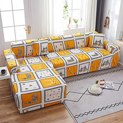 Funda de Sofá Elástica 1/2/3/4 Plazas Cubre Sofas Universal 2 Plazas: 145-185 cm con 2 Funda de Cojín Gratis Poliéster Spandex Protector Cubierta de Muebles Color,Cuadrícula de La Ciudad