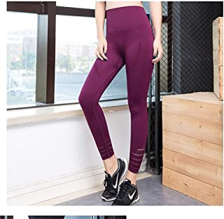 Jinqiuyuan Sports Women Running Yoga Pants Sportswear Fitness High Waist Leggings Exercise Gym Compression Tights Pants Trousers (Color : Red, Size : XS)