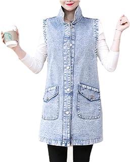 desolateness Women's Lapel Button Up Sleeveless Denim Jean Mid Long Vest Gilet Jacket